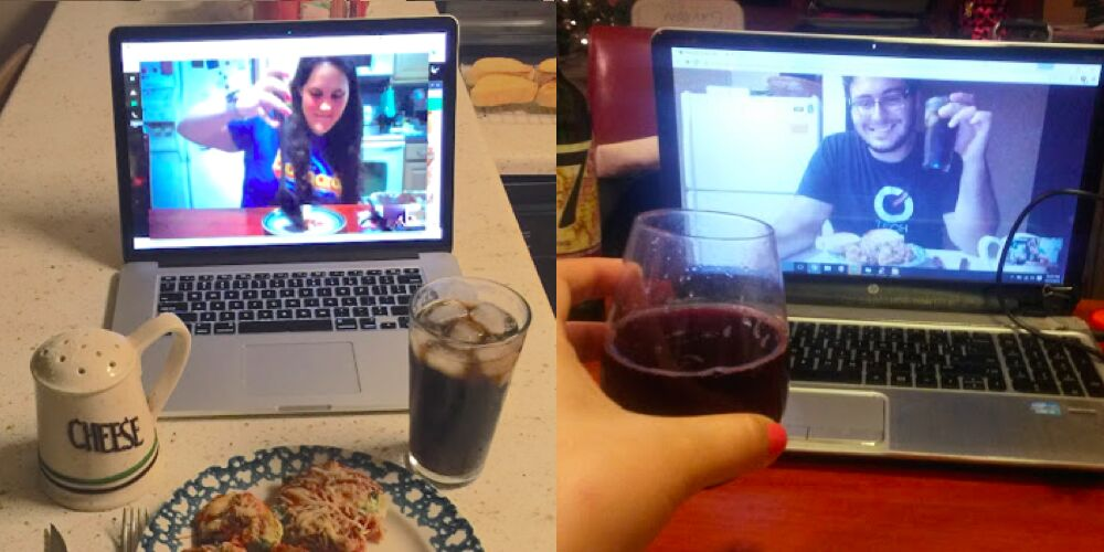 long distance relationship couple cooking together