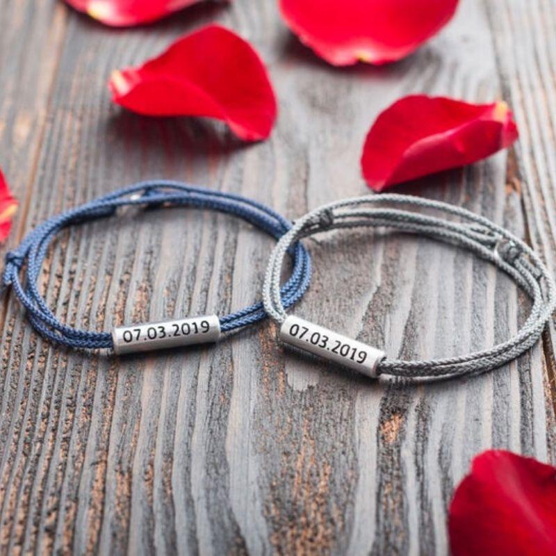 Custom His & Hers Cord Bracelets by Art Engraving Studio