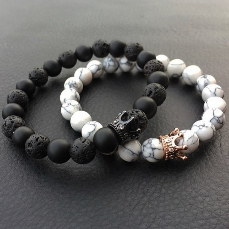 King & Queen Natural Stone Bracelets by Zone