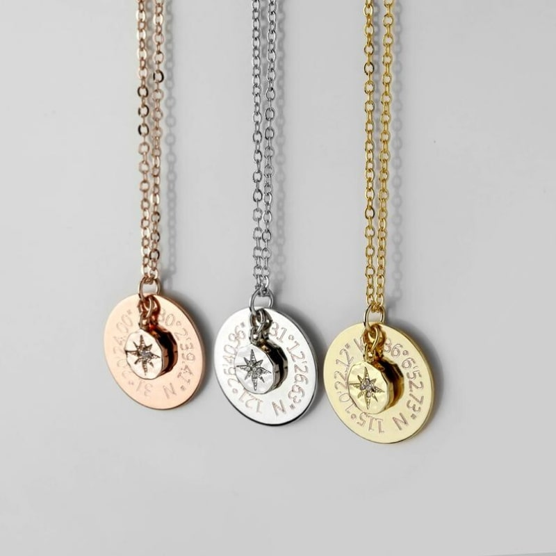 North Star Coordinates Necklace by Dohee Lee